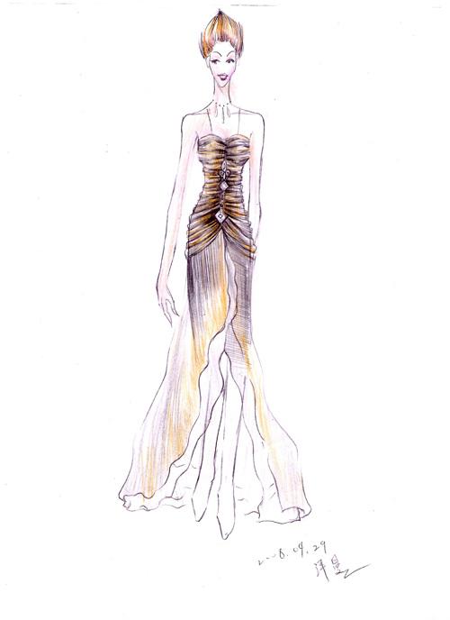 自学画的礼服设计手稿